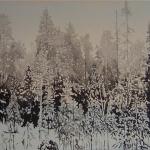 Yksin metsässä 2 100 x 50 cm Oil acrylic and ink on canvas. 2007