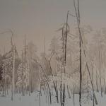 Yksin Metsässä 100 x 50 cm Oil acrylic and ink on canvas. 2007